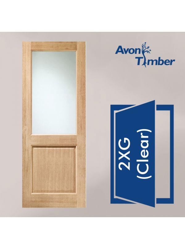 2XG Single Glazed External Hardwood Door Various Sizes. Clear Glass Dowelled